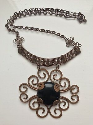 Handmade South American Onyx Stone Copper Necklace