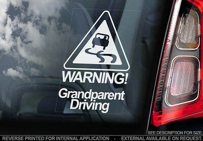 Warning, Grandparent Driving! -Car Window Sticker -Baby on Board Gift Decal Sign
