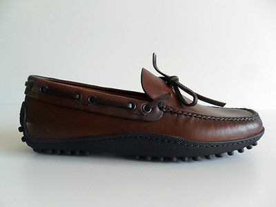 Loafers man Car Shoe pull up dark brown