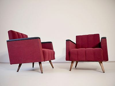 1of2 VINTAGE ART DECO 40s 50s  EASY CHAIR WITH ORIGINAL BURGUNDY COLOUR FABRIC