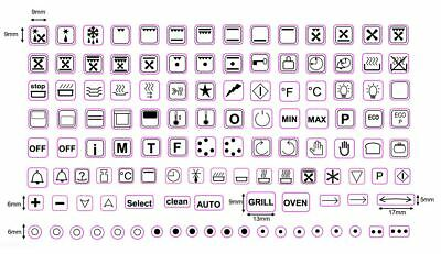 119 Assorted Oven Symbol Markings Decals For Ovens, Stoves, Cookers And Ranges
