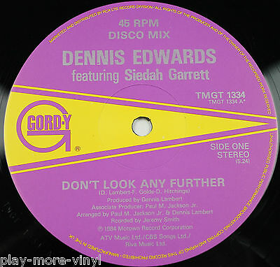 """DENNIS EDWARDS Don't Look Any Further 12"""" vinyl UK 1984 Gordy/Motown playsNM!"""