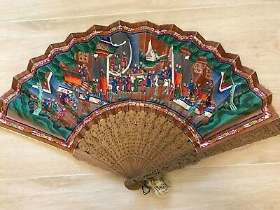 RARE ANTIQUE CHINA BRISE FAN  applied faces hand carved sandalwood sticks