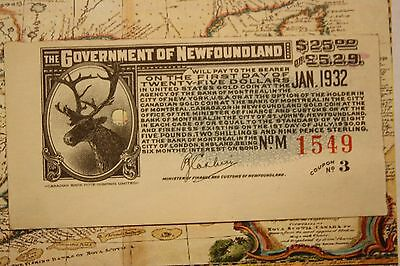 1932 NEWFOUNDLAND GOVERNMENT $25 STAMP - WILL PAY USA AMERICAN GOLD COIN lot30