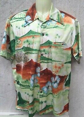 Genuine 70's Vintage NAPILI M POLYESTER HAWAIIAN SHORT SLEEVE SHIRT SURF GREEN