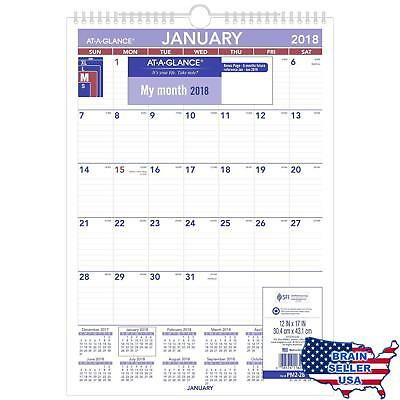 """AT-A-GLANCE Monthly Wall Calendar, January 2018 - December 2018, 12"""" x 17"""", Wire"""