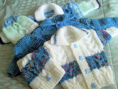 unique hand knitted boy/ girls cardigan/jacket & hat newborn 0-3m - 3-6m & 6-12m