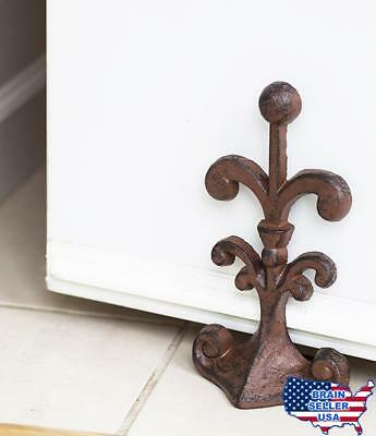 Fleur De Lis Cast Iron Door Stop | Decorative Door Stopper Wedge | with Padded A