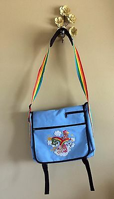 Care Bears Messenger Bag Powder Blue w Rainbow Straps Embroidered