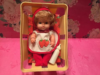Vintage  Eegee Strawberry Doll In Basket Berry Bunch Drink & Wet Doll