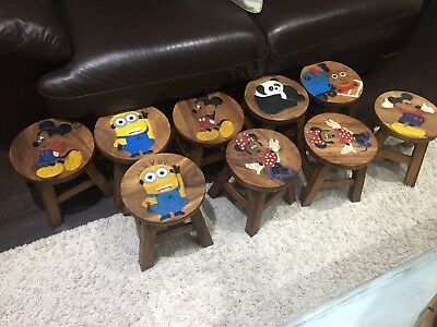 Animated Hand Carved Acacia Wooden Childrens Stool