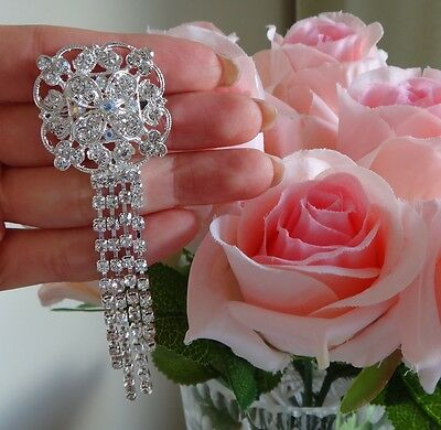 Wedding Bridal Bouquet Crystal Rhinestone Silver Tassel Vintage Brooch Pin NEW
