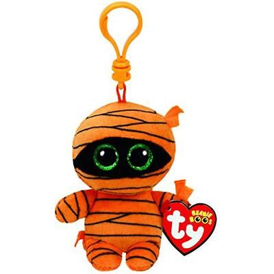 "Ty Beanie Boos 4"" 10cm MASK the Exclusive Halloween Mummy Clip Keychain Plush St"
