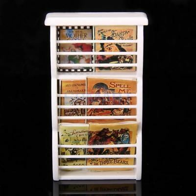 SPMART Dollhouse Miniature Wooden Bookshelf Book Magazine Rack -White