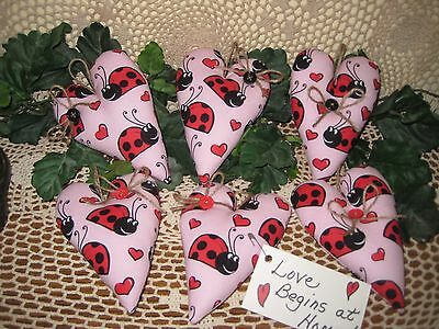Set of 6 ladybug fabric handmade heart ornaments bowl fillers home decor