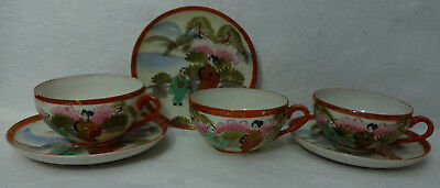 Made in Japan GEISHA WALKING - Set of 3 Cups & 2 Saucers - Hand Painted