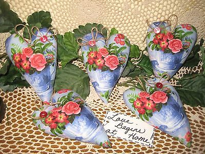 5 handmade rose floral blue fabric Valentine tree ornaments bowl fillers decor