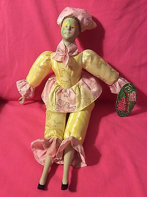 Sugar Loaf Classifies Porcelain Doll In Yellow/Pink Outfit