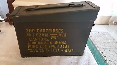 Metal Olive Drab Ammo Ammunition Box - for 200 7.62 MM Cartridges