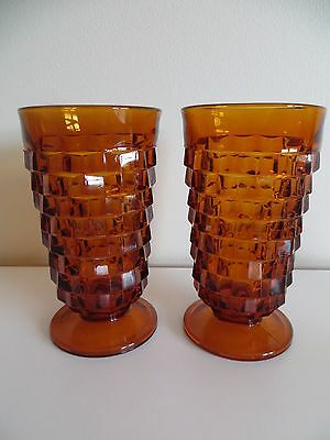 2 VTG Amber Drink Glasses Indiana Whitehall Colony Cube Footed Large 14 oz. Fall