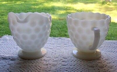 Jeanette Creamer & Sugar Milk Glass Vintage Set