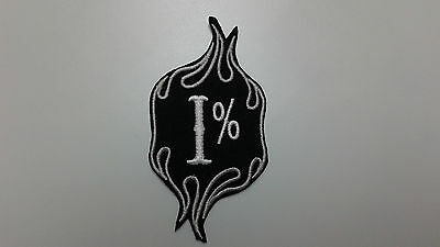"""1 pc I% WITH FLAME BIKER CLUB MEMBER EMB PATCH 4""""x2""""  SEW/IRON-ON"""