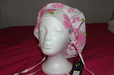 Back Bay Medical Bouffant Scrub Cap Surgery Hat green leaf pink flower surgical
