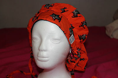Back Bay Medical Bouffant Scrub Cap Surgery Hat black cat halloween surgical new