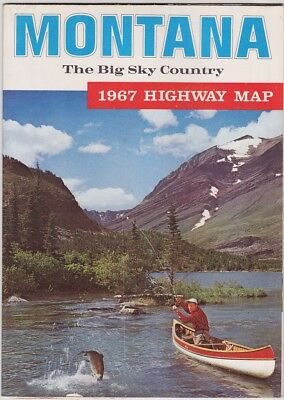 1967 Official State Issue Road Map Of Montana