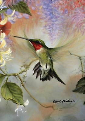 NEW LARGE TOLAND FLAG RUBY THROATED HUMMINGBIRD 28 x 40 - BEAUTIFUL!