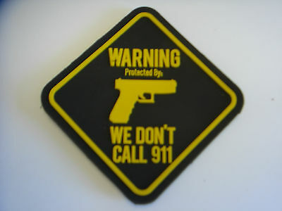 """1 pc  WARNING PROTECTED BY""""PISTOL"""" design rubberized patch hook back"""