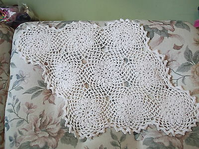 "21"" x 15"" elongated  diamond crocheted doily - no damage to the work"