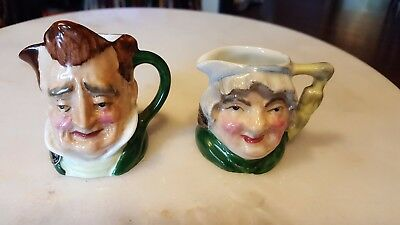 2 Vintage English Radnor England Toby Mug Small Mini Pitcher Longton Staffs