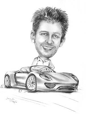 A3 Personalised Custom Caricature of One person from a Photo(s)