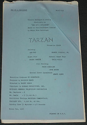 Ron Ely as TV's TARZAN 1968 ORIG. 52 PAGE 14x8 DIALOG/CUTTING CONTINUITY SCRIPT!