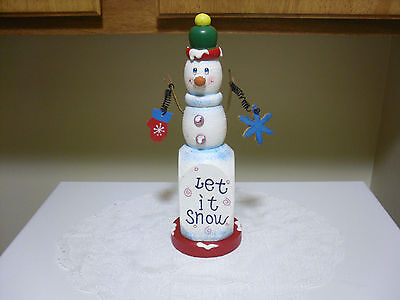 """NEW """"Let It Snow"""" Whimsical Wooden Snowman Christmas Decoration 10 3/4""""tall"""