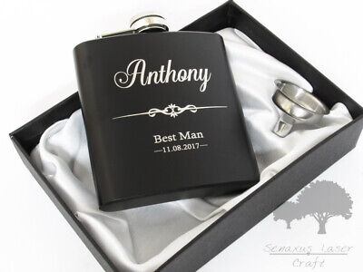 6oz Black personalised Hip Flask.Wedding groomsman gift with box choice bf46
