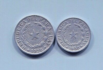 Paraguay - Two Beautiful Historical 1938 Aluminum Coins, 1 & 2 Pesos