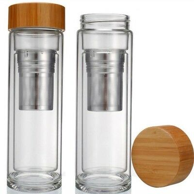 Drink bottle with tea infuser double wall glass Reusable Eco Friendly