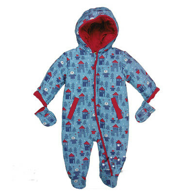 Baby Boys Padded Snowsuit Blue/Red With Bears Design by Lily & Jack 0-12Mths