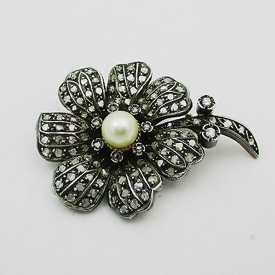Fabulous Antique Gold Pearl & Diamond Flower Brooch. 1.5 Carats