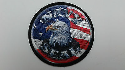 "1 pc -New NAVY SEAL EAGLE FLAG Emb. patch 2-7/8"" sew/iron on"