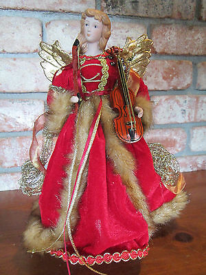 "12"" Angel Christmas Tree Topper Centerpiece Mantel Display w/ Violin"