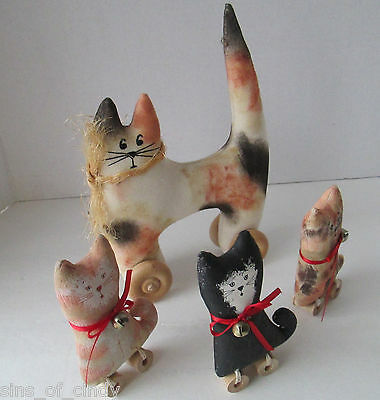4  Folk Art Primitive Cats on Wheels Soft Sculpture Stuffed Hand Painted Muslin