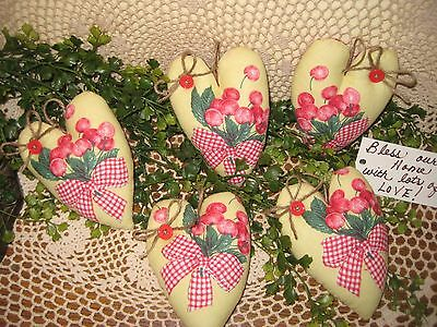 Set of 5 Country cherry fabric heart ornaments basket or bowl fillers home decor
