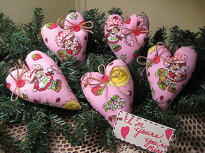 Set of 5 Strawberry Shortcake pink  hearts ornaments bowl fillers home decor