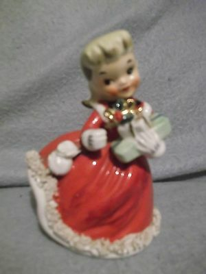 "Hand-painted # porcelain bisque Christmas Shopper 5 1/2"" X 4"" Japan Fine China"