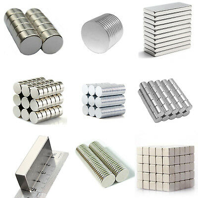 50 100 Pcs Disc Block Cube Magnets Rare Earth Neodymium Magnet N52 N48 ALL Size