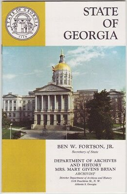 1950's Georgia History And Statistics Booklet