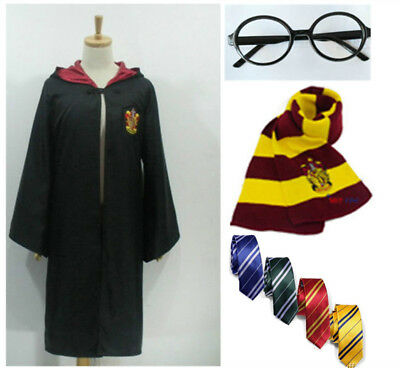 Children&Adult Harry Potter Hogwarts Tie Glasses Cape Cloak Robe Cosplay Costume